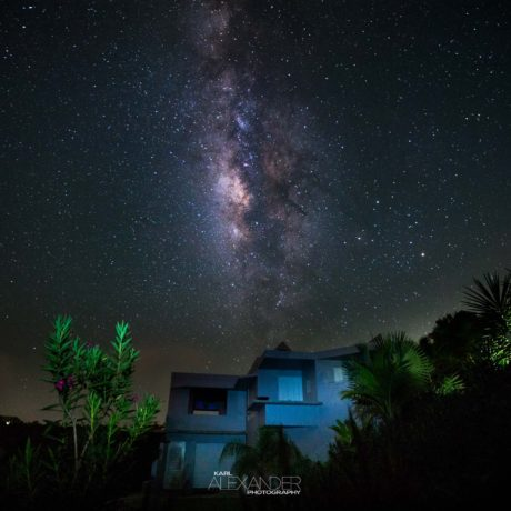 Milky Way over Casa Angular, a luxury villa rental on Vieques Island, Puerto Rico.
