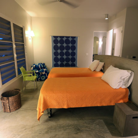 Bedroom in the evening on Vieques Island at Casa Angular.