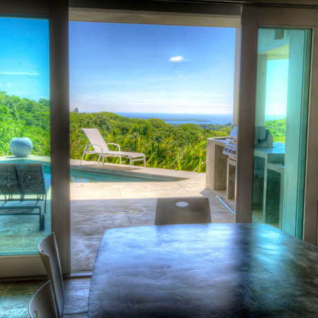 Casa Angular dining room view of the Caribbean. A Vieques Island vacation rental villa.