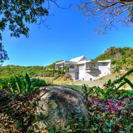 Landscaping on the Casa Angular grounds, a Vieques vacation rental villa.