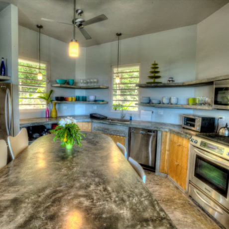 Kitchen at Casa Angular, Vieques vacation rental, Puerto Rico. Photo by Karl Alexander.