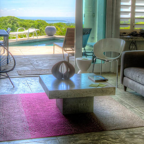 Casa Angular living room view of the Caribbean
