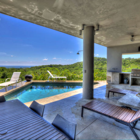 Casa Angular vacation rental villa has a pool with a Caribbean view on Vieques island, Puerto Rico.